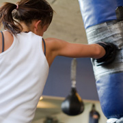 A female boxer training