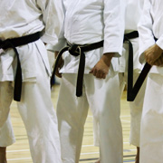 Karate students waiting to fight
