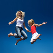 Mother and daughter trampolinists