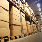 Boxes in a sports warehouse