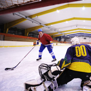 Ice hockey players practising