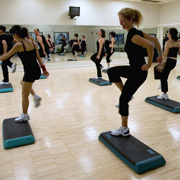 A step aerobics class to keep fit
