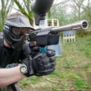 A paintballer taking aim
