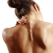 Sportswoman with neck pain